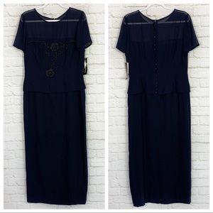 Donna Morgan Navy Beaded Short Sleeve Evening Gown